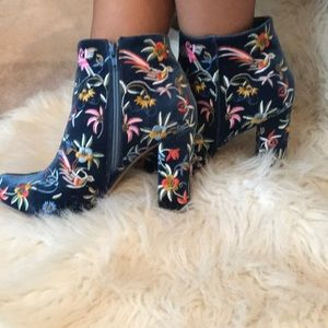 Embroidered velvet bootie